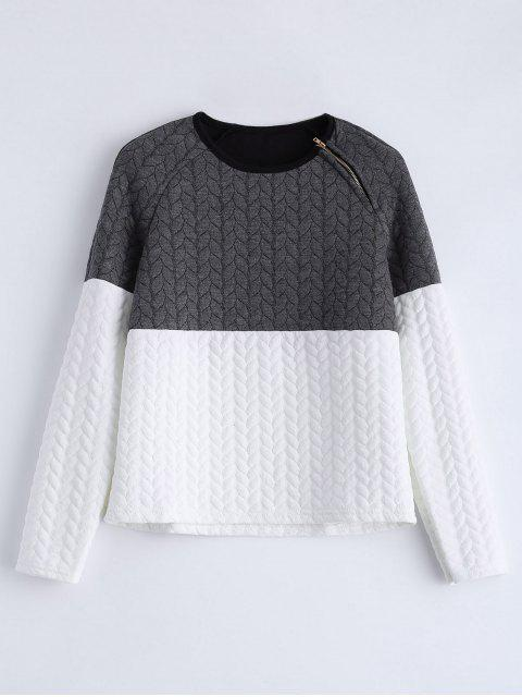 women's Zipper Embellished Color Match Top - GREY AND WHITE XL Mobile