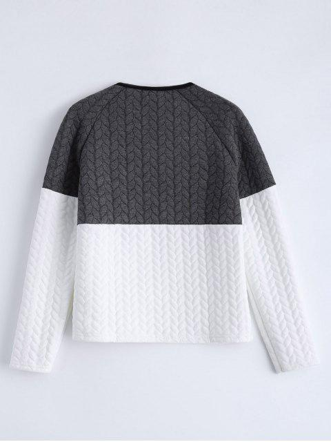 lady Zipper Embellished Color Match Top - GREY AND WHITE M Mobile