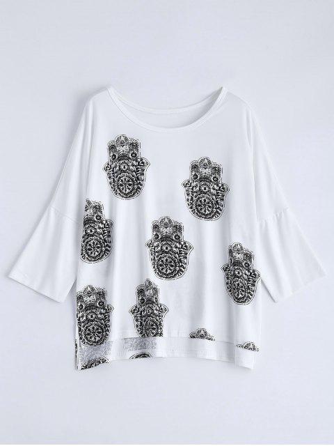 shop High Low Printed Loose T-Shirt - WHITE XL Mobile