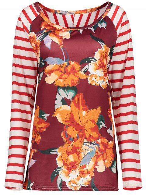 shops Stripes Panel Round Collar Flower Tee - RED L Mobile