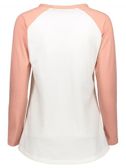 fancy Color Block Raglan Sleeve Baseball T-Shirt - WHITE L Mobile
