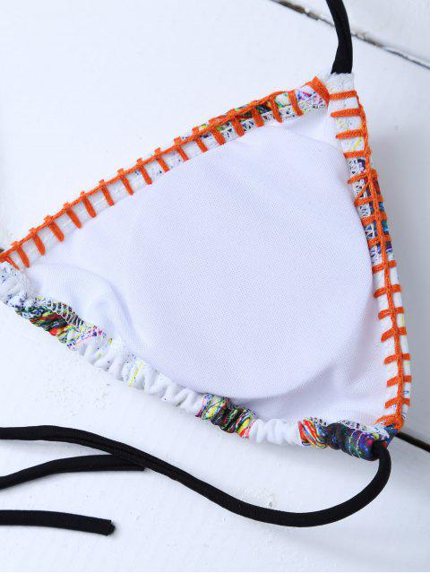 outfits Printed Tassels Bikini Set - WHITE L Mobile