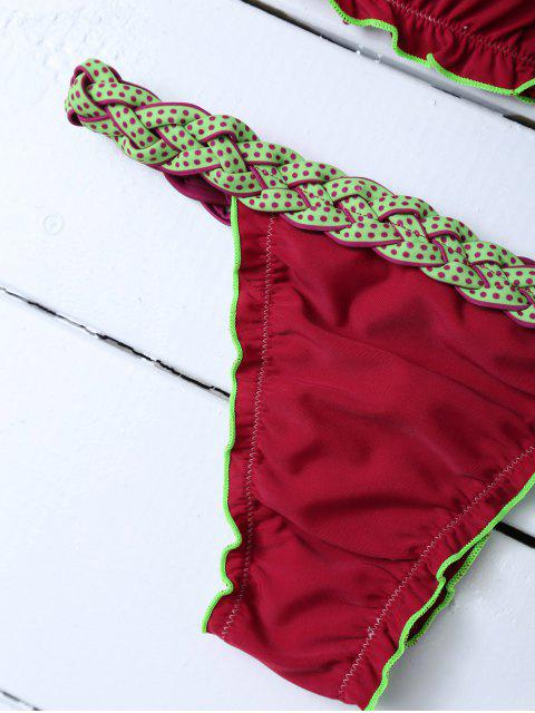 chic Scalloped Braid Waist Bikini Set - WINE RED XL Mobile