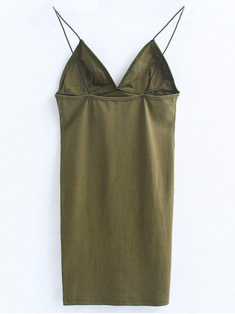 women's Elastic Spaghetti Strap Mini Bodycon Dress - FLAX GREEN S Mobile