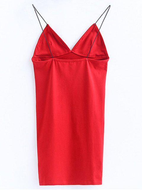 ladies Elastic Spaghetti Strap Mini Bodycon Dress - BRIGHT RED M Mobile