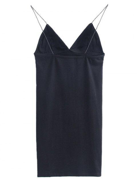 best Elastic Spaghetti Strap Mini Bodycon Dress - BLACK M Mobile