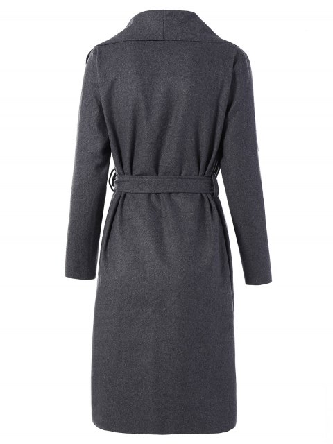 women's Tie Waist Shawl Collar Wrap Coat - GRAY M Mobile