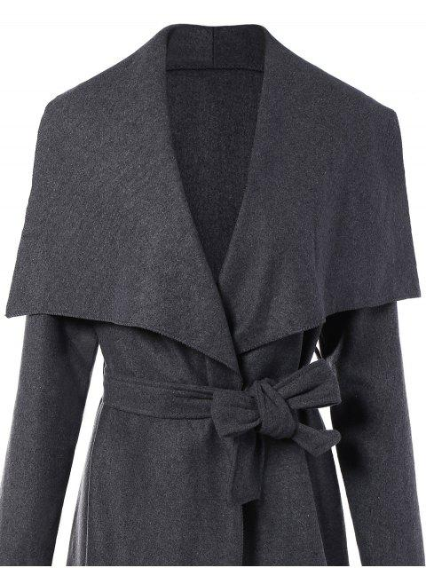 ladies Tie Waist Shawl Collar Wrap Coat - GRAY S Mobile