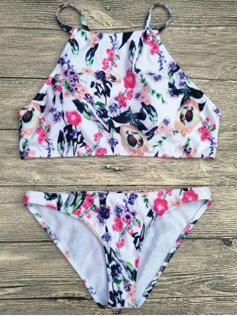 buy Floral Printed Spaghetti Strap Bikini Set - WHITE XL Mobile