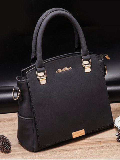 shop Double Pocket Zipper Faux Leather Tote Bag -   Mobile