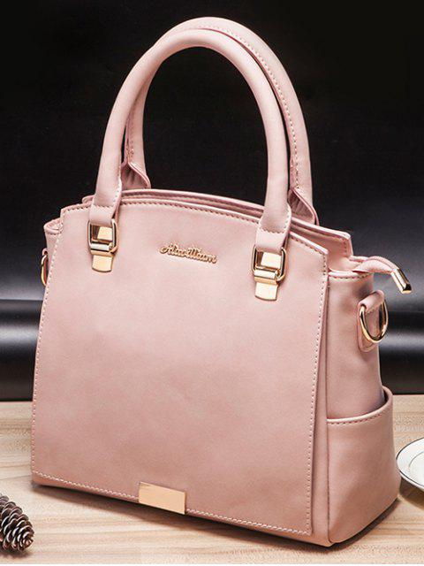 shops Double Pocket Zipper Faux Leather Tote Bag -   Mobile
