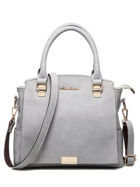 latest Double Pocket Zipper Faux Leather Tote Bag -   Mobile