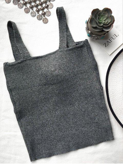 outfit Front Twist Ribbed Tank Knitwear - DEEP GRAY ONE SIZE Mobile