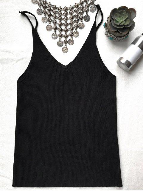 latest Spaghetti Strap Ribbed Knitted Top - BLACK ONE SIZE Mobile