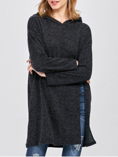 unique High Slit Hooded T-Shirt - BLACK ONE SIZE Mobile