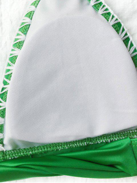 sale Contrast Stitching Plunge Halter Bikini - GREEN L Mobile