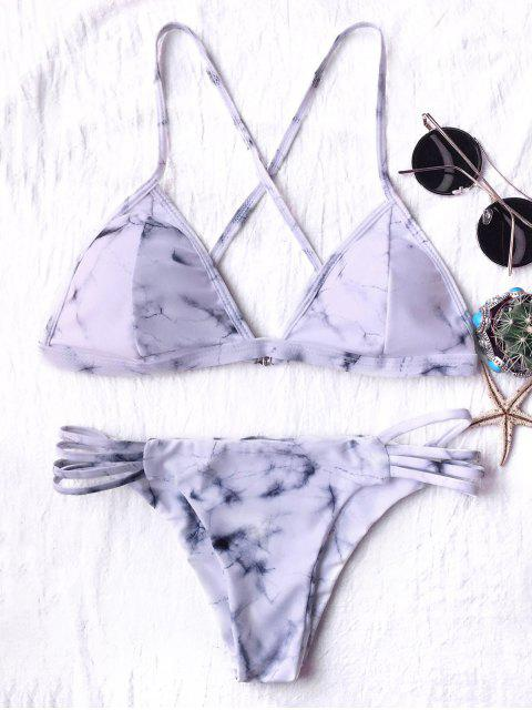 fashion Tie Dyed Thong Bikini - GREY AND WHITE L Mobile