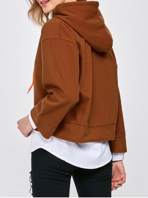 womens Drop Shoulder Loose Hoodie - BROWN XL Mobile