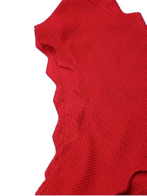 women Halter Scalloped High Neck Bikini Set - DEEP RED S Mobile