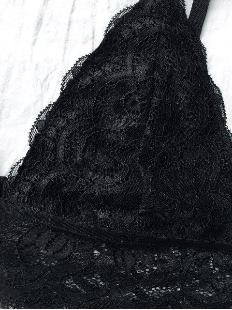 buy Lace Unlined Plunge Bra - BLACK S Mobile