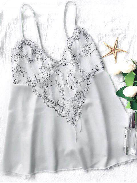 buy Lace Satin Babydoll Slip Dress - WHITE XL Mobile