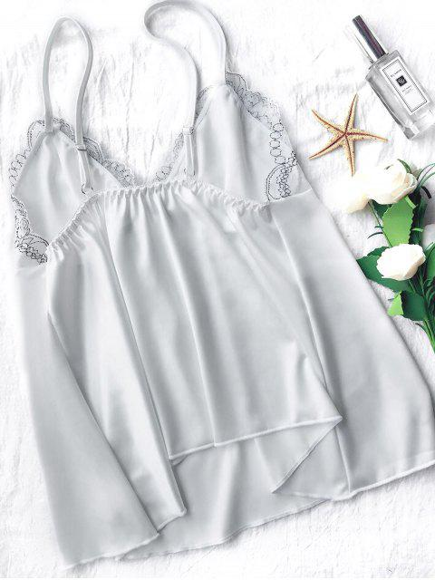 womens Lace Satin Babydoll Slip Dress - WHITE L Mobile