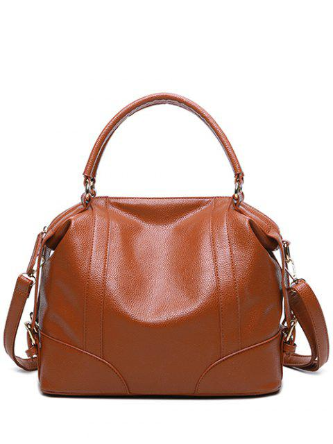 shops Buckle Straps Faux Leather Handbag - BROWN  Mobile