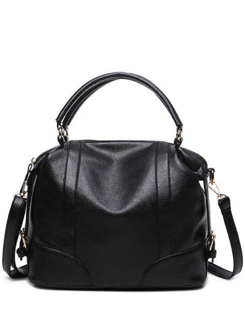 latest Buckle Straps Faux Leather Handbag - BLACK  Mobile