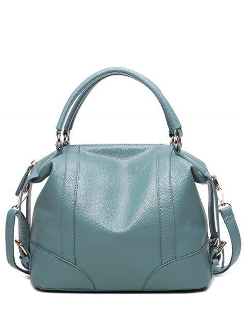 fashion Buckle Straps Faux Leather Handbag - BLUE  Mobile