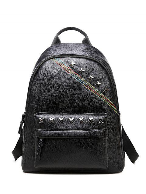 chic Criss Cross Faux Leather Backpack - BLACK  Mobile