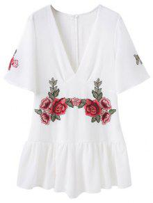Embroidered Patches Ruffle Romper - White S