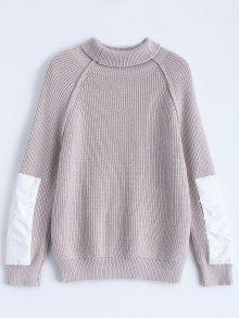 Patch Sleeve Chunky Sweater - Smashing