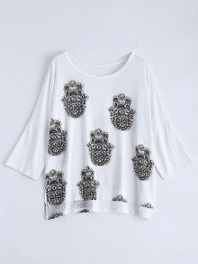 High Low Printed Loose T-Shirt - White M
