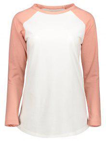 Color Block Raglan Sleeve Baseball T-Shirt - White M