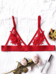 Unlined Floral Mesh Bra - Red S