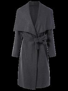 Tie Waist Shawl Collar Wrap Coat - Gray Xl
