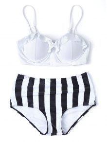Striped High Waisted Underwired Bikini - White S