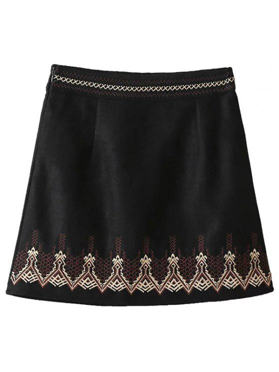 affordable Embroidered Corduroy Skirt - BLACK M