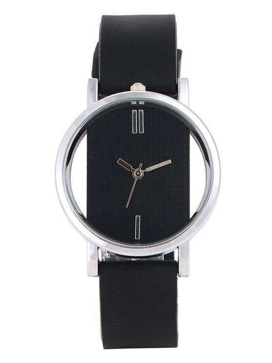 Montre au bracelet analogique en silicone - Noir