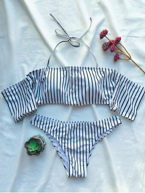 buy Off The Shoulder Strappy Striped Bikini Set - WHITE S