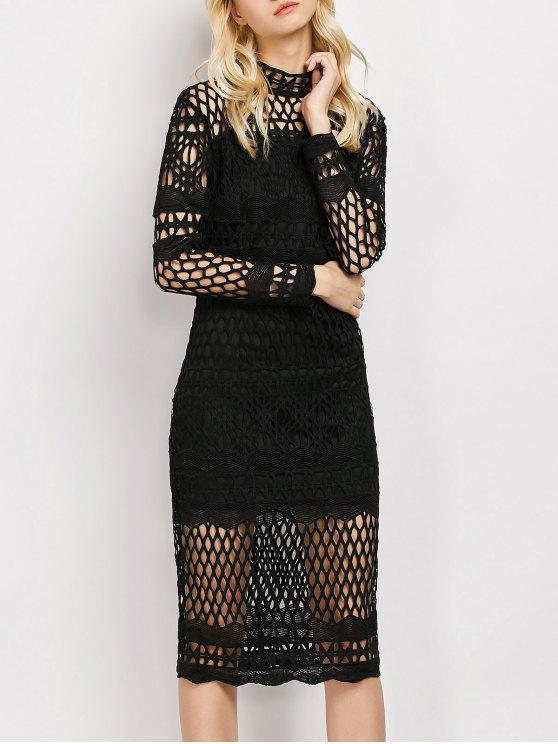 Long Sleeve Geometric Lace Dress BLACK: Lace Dresses L | ZAFUL