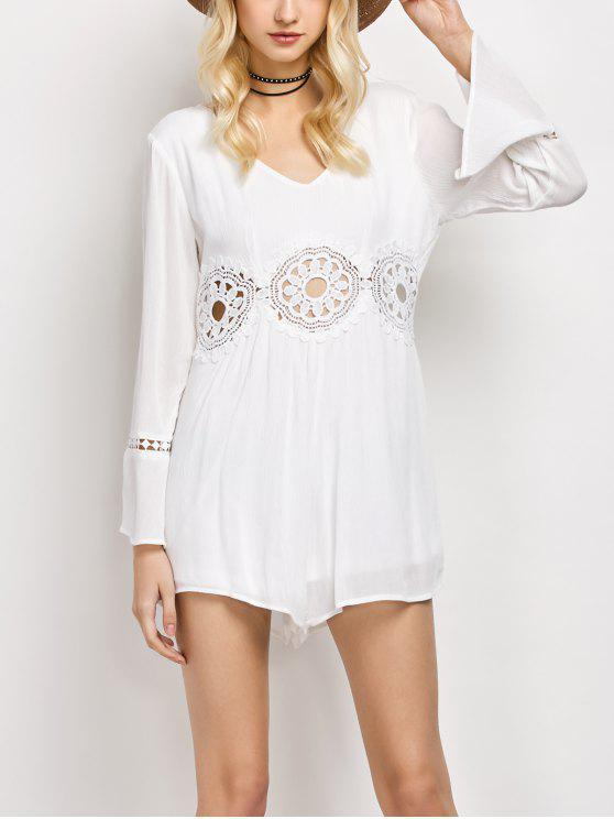 ad6c1fed9117 31% OFF  2019 Lacework Panel V Neck Romper In WHITE