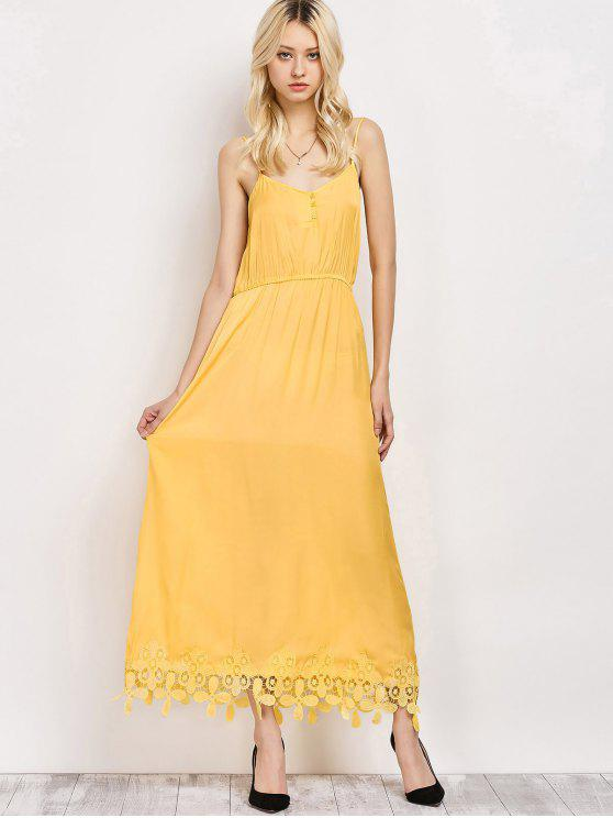 women Lace Panel Cami Midi Dress - YELLOW L