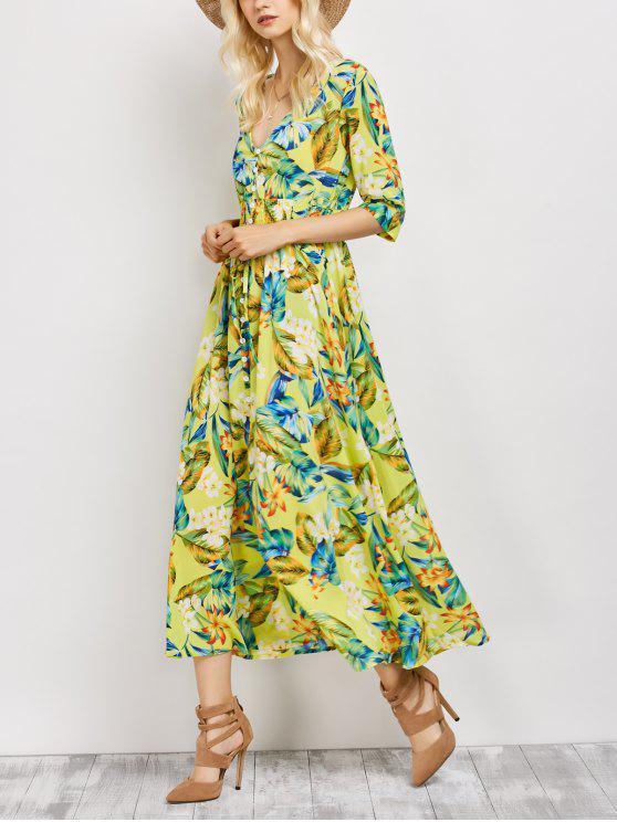 يغرق الرقبة البوهيمي الاستوائية الأزهار فستان ماكسي - الأزهار XL