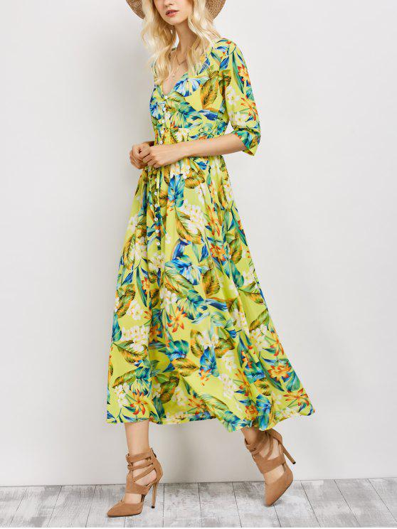shop Plunge Neck Bohemian Tropical Floral Maxi Dress - FLORAL M