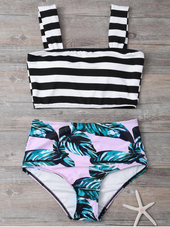 online Tropical Print Striped Bikini Set - COLORMIX XL