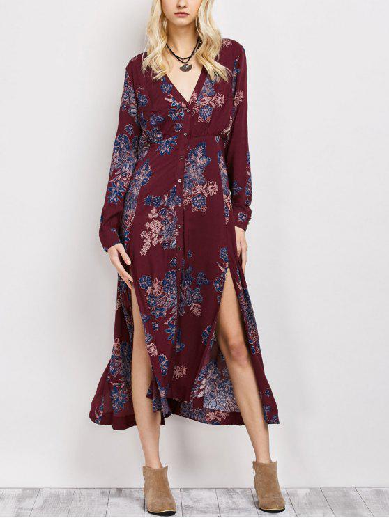 Vestido floral flojo de la vendimia - Vino Rojo S