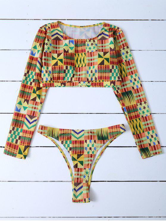 Cuello redondo de manga larga Set Bikini - Multicolor M