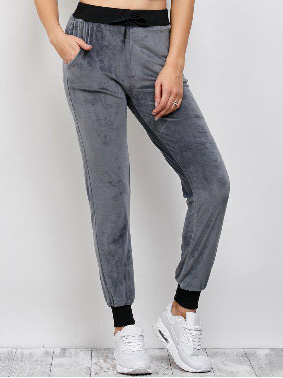 lady Drawstring Velvet Sports Pants - DEEP GRAY L