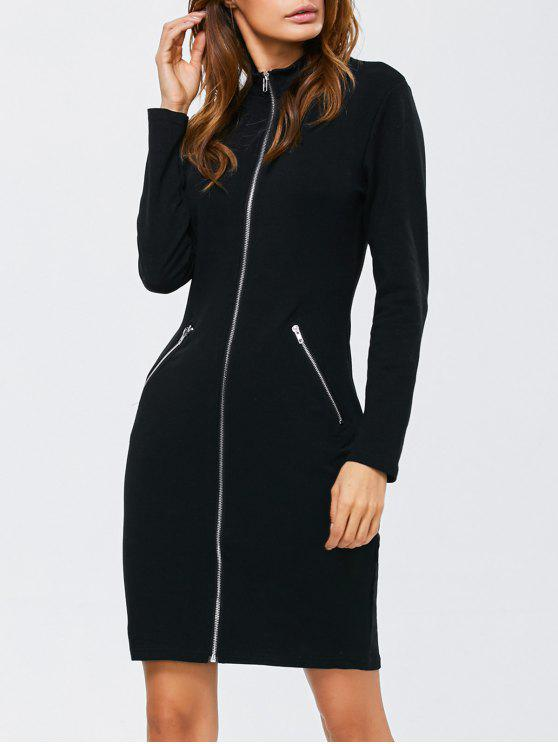 2018 Zipped Front High Neck Tight Long Sleeve Bodycon Dress In Black